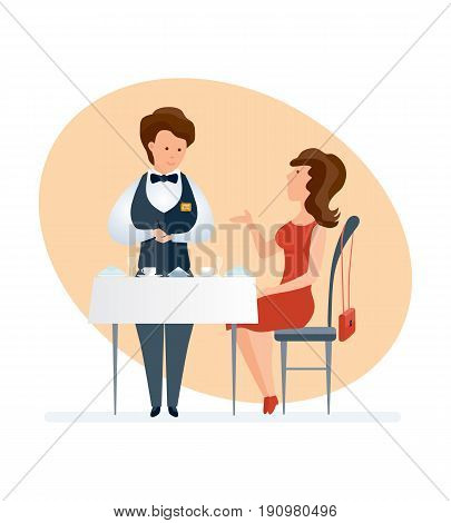 Fashionable girl visits a restaurant, orders dishes, a waiter in branded clothes serves the customer writing down wishes in a notebook. Vector illustration isolated on white background in cartoon style.