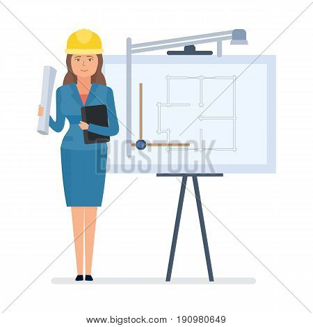 Chief engineer, architect worker with documents in hands, stands near stand with drawings of dwelling. Isolated on white background in cartoon style. Successful architect with drawing board.