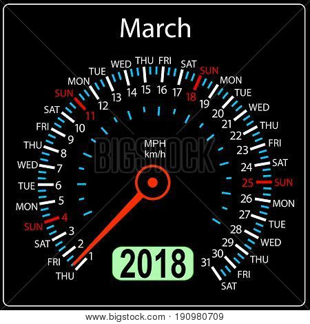 Year 2018 calendar speedometer car in concept. March.