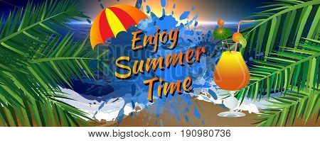 Abstract enjoy summer time banner with umbrella palm leaves and icy cocktail glass. Sunset on the beach.