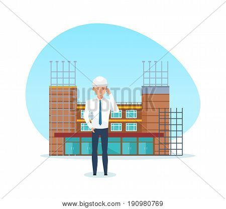 Construction building concept. The man, the project manager, with the technical documentation in hand, stands against the background of the building under construction. Vector illustration