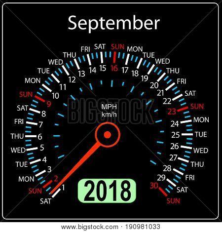 Year 2018 calendar speedometer car in concept. September.