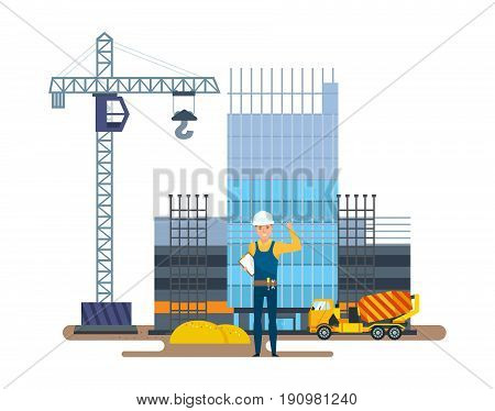 The chief of production is standing with documents against the background of a multi-storey building under construction and construction equipment. Vector illustration isolated in cartoon style.