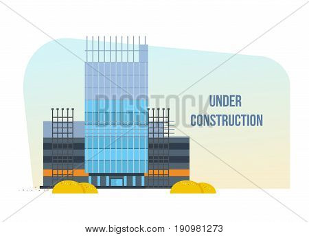 Process of building a hotel premises with the help of special equipment and transport. Construction building. Vector illustration of website under construction, templates, web page building process.