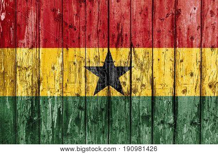 Flag of Ghana painted on wooden frame