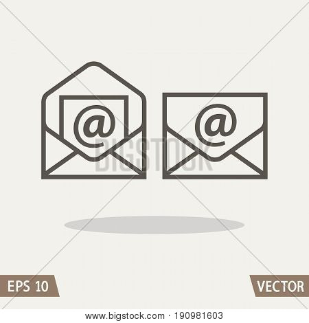 Mail flat icon set open and closed envelope e-mail symbol. Vector illustration for web and commercial use.