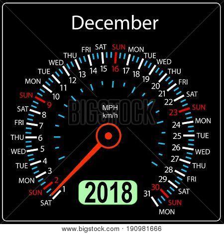 Year 2018 calendar speedometer car in concept. December.