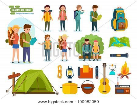 Big set of camping and hiking. Journey and travel by nature. Tourists, engaged in hiking, camping, as well as basic equipment and tools in joint hikes couple. Vector illustration, people in cartoon style.