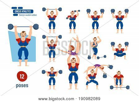 Big set of circus athlets concept. Male athlete, tighten belt in striped suit, entertains audience, showing strength exercises with dumbbells. Vector illustration, people in cartoon style.