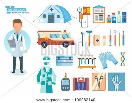 Healthcare system concept. Medical research and treatment. Set of tools for medical research, diagnostic equipment, treatment, work in an institution. Vector illustration isolated on white background.