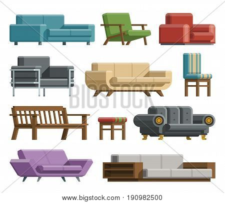 Collection of different kinds sofas and armchairs in cartoon flat style. Modern and retro beds and sofas for relax. Interior furniture for home design. Isolated on white background.