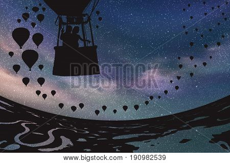 Lovers in balloon at night. Vector illustration with silhouette of loving couple under starry sky. Landscape with hot air balloons flying over rivers and lakes