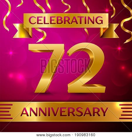 Seventy two Years Anniversary Celebration Design. Confetti and golden ribbon on pink background. Colorful Vector template elements for your birthday party. Anniversary ribbon