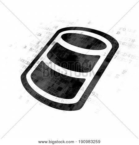 Database concept: Pixelated black Database icon on Digital background