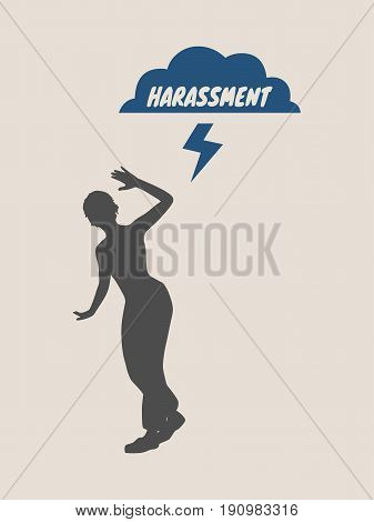 A young woman holding her hand in front to show stop gesture. Stop Domestic Violence Creative Social Design Concept. Vector illustration. Harassment text