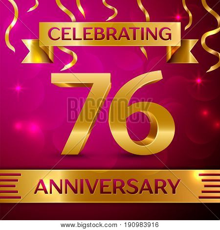 Seventy six Years Anniversary Celebration Design. Confetti and golden ribbon on pink background. Colorful Vector template elements for your birthday party. Anniversary ribbon