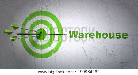 Success Industry concept: arrows hitting the center of target, Green Warehouse on wall background, 3D rendering