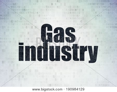 Manufacuring concept: Painted black word Gas Industry on Digital Data Paper background