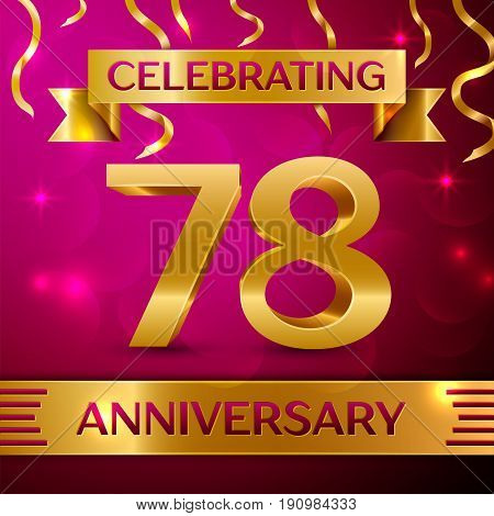 Seventy eight Years Anniversary Celebration Design. Confetti and golden ribbon on pink background. Colorful Vector template elements for your birthday party. Anniversary ribbon