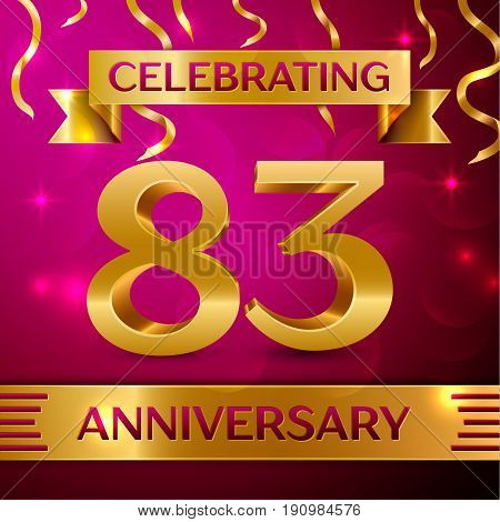 Eighty three Years Anniversary Celebration Design. Confetti and golden ribbon on pink background. Colorful Vector template elements for your birthday party. Anniversary ribbon