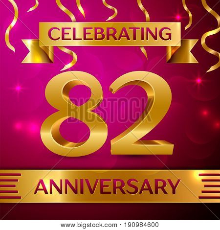 Eighty two Years Anniversary Celebration Design. Confetti and golden ribbon on pink background. Colorful Vector template elements for your birthday party. Anniversary ribbon