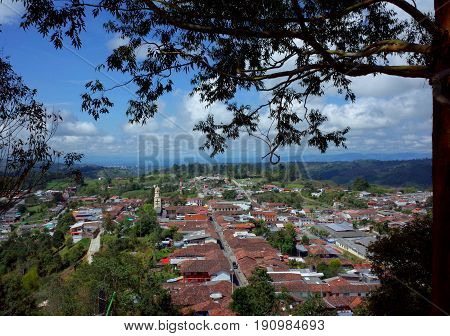 A view over the town of Salento Colombia