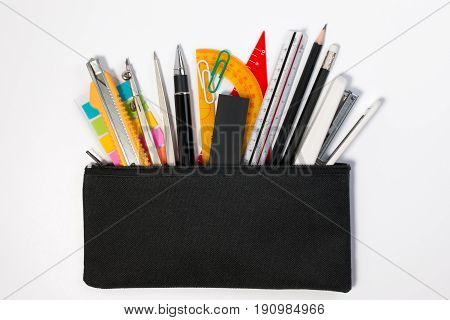 Student Pencil Bag, Black Pencil Case With School Supplies And School Object Background. Black Penci