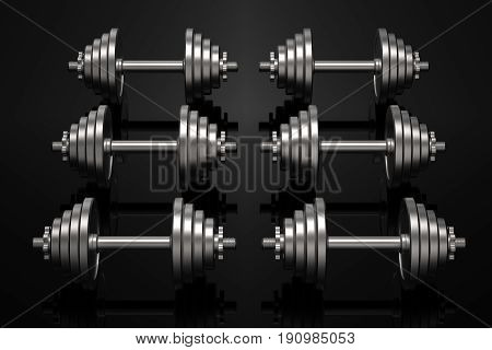 Dumbbells on a black reflective surface. Professional studio lighting. Array of heavy metal dumbbells. Cast iron discs and handle. Training equipment. 3D illustration