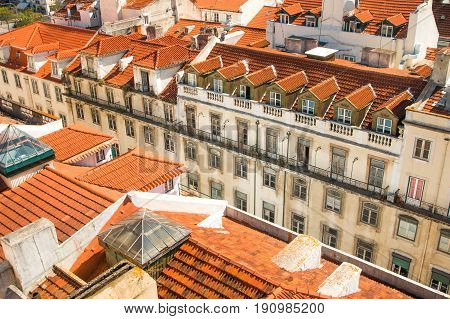 Red roofs of Rossio, central Lisbon, Portugal, skyline from Santa Justa Lift