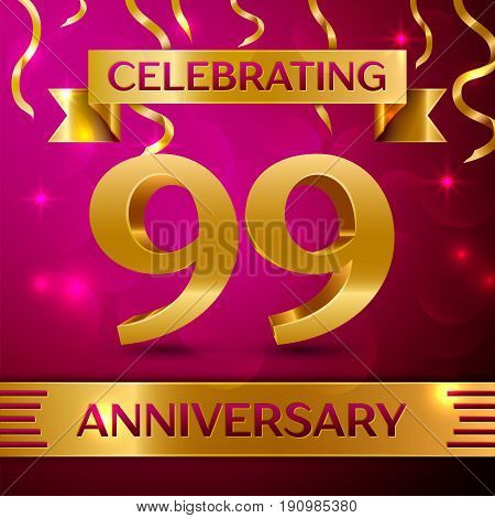 Ninety nine Years Anniversary Celebration Design. Confetti and golden ribbon on pink background. Colorful Vector template elements for your birthday party. Anniversary ribbon