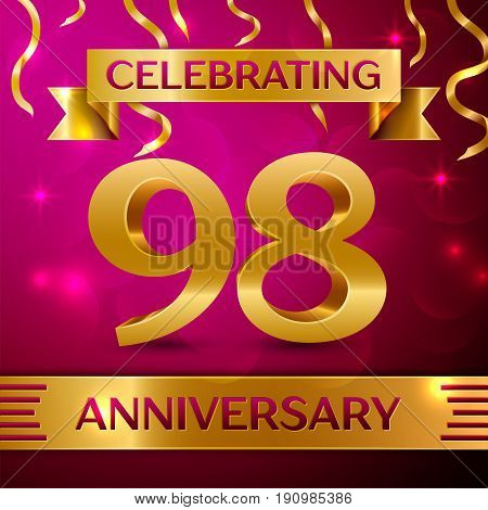 Ninety eight Years Anniversary Celebration Design. Confetti and golden ribbon on pink background. Colorful Vector template elements for your birthday party. Anniversary ribbon