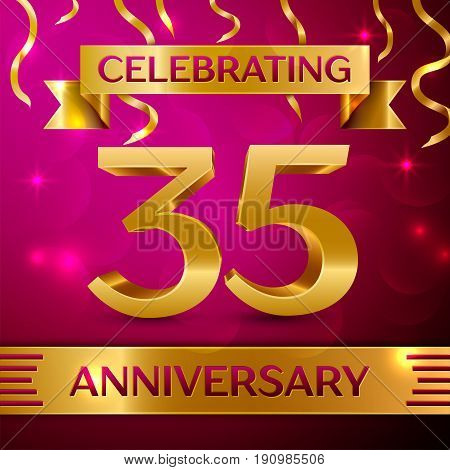 Thirty five Years Anniversary Celebration Design. Confetti and golden ribbon on pink background. Colorful Vector template elements for your birthday party. Anniversary ribbon