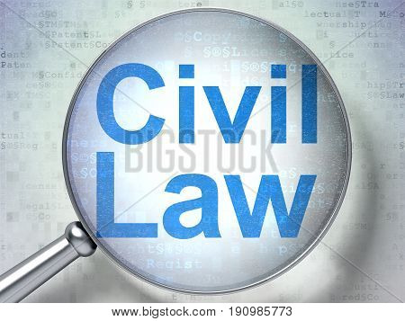 Law concept: magnifying optical glass with words Civil Law on digital background, 3D rendering
