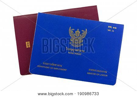 Blue Thai Work Permit book (WP.11) on electronic passport isolated on white background