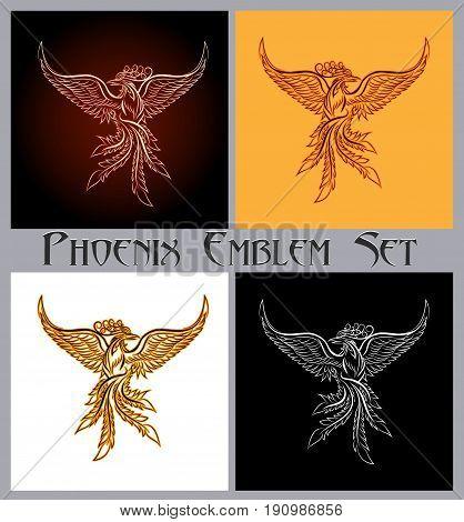Set of phoenix bird emblem. Design elements for prints badges labels and stickers. Vector illustration.