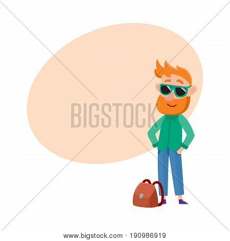 Young tourist, hipster red haired man in sunglasses standing hands in pockets, cartoon vector illustration with space for text. Full length portrait of young man tourist in sunglasses