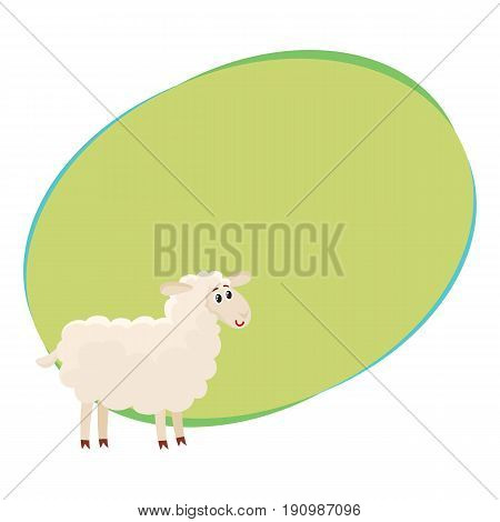 Well gromed fluffy sheep, lamb with big eyes, cartoon vector illustration with space for text. Cute and funny farm sheep, lamb with friendly face and big eyes