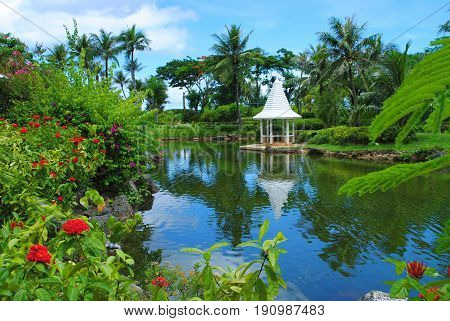 Garden with a pond and gazebo  A beautiful garden with a white gazebo reflected in the clear blue waters