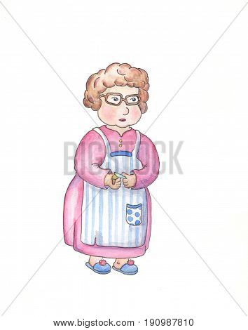 Senior age woman in apron cleaning potatoes. Aged woman cooking. Grandmother hand-drawn illustration. Granny image isolated on white. Old lady in home clothes. Senior people lifestyle. Lovely grandma