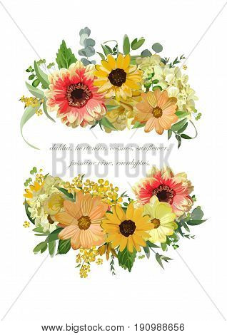Vector design vertical card bouquet element collection. Yellow tiny hydrangea flowers orange dahlia sunflower eucalyptus leaves. Elegant summer autumn blank floral cute invitation isolated white