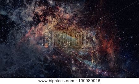 Universe Scene With Nebulae, Stars And Galaxies In Outer Space.