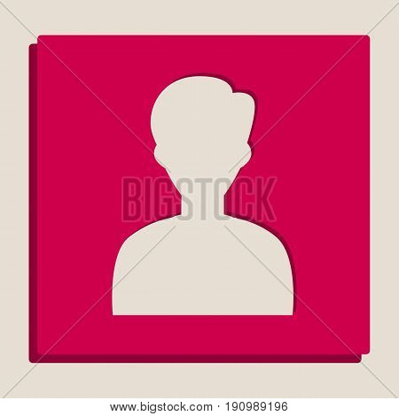 User avatar illustration. Anonymous sign. Vector. Grayscale version of Popart-style icon.