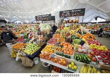 MOSCOW - JAN 19, 2017: Showcase with vegetables and fruits on the Danilovsky Market in Moscow