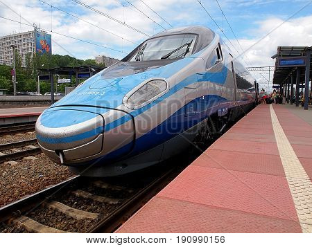 Pendolino in Gdynia. Gdynia, Poland - June 11, 2017 Super modern Pendolino train at the platform of the Main Railway Station in Gdynia.