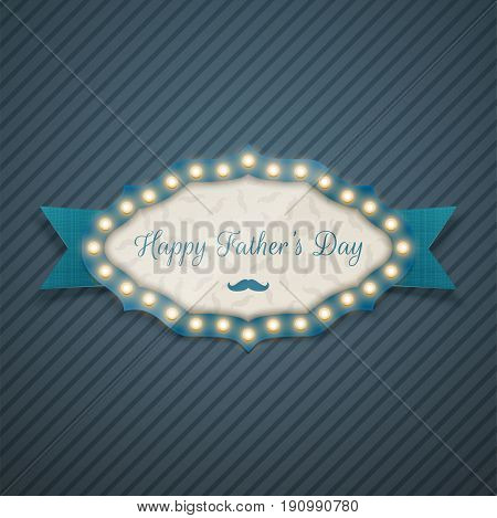 Happy Fathers Day greeting Light Banner with Ribbon. Vector Illustration
