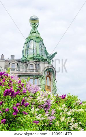 Sculptures On The Facade Of Singer House, Saint Petersburg Summer Lilac.