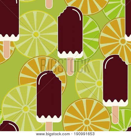 Summer mood seamless pattern with sweet eaten ice cream lemons oranges and limes. Texture with cold desserts ice cream fudge sundae. Fruit slices