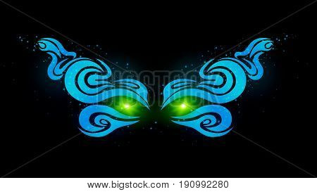 Glowing green eyes in the dark. Beautiful smooth pattern of blue. Mysterious eyes of the monster. Art and design. Vector illustration. EPS 10