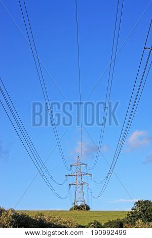 Pylon and electricity cables in the country