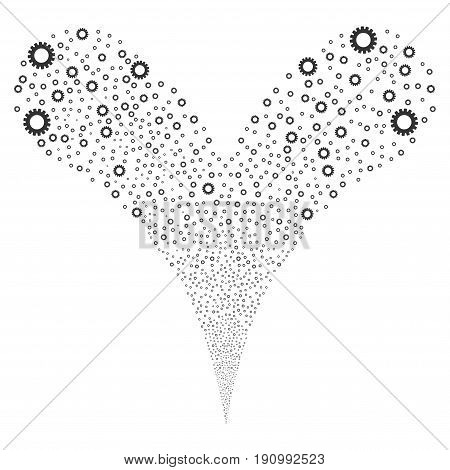 Gear fireworks stream. Vector illustration style is flat gray iconic gear symbols on a white background. Object fountain organized from random symbols.